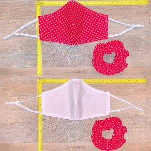 Pinup girl red Polk dot face mask/ hair scrunchie